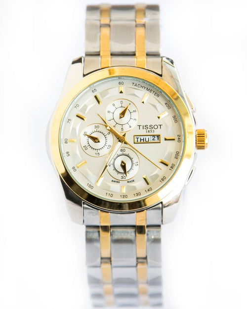 Tissot Gold & Silver Mens Watches With Date & Day - White Dial