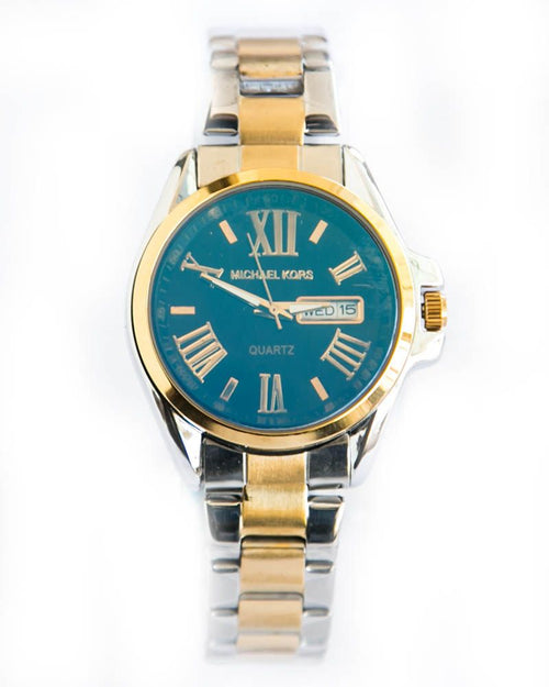 Michael Kors Ladies Watch In Black Dial– Gold & Silver With Date & Day
