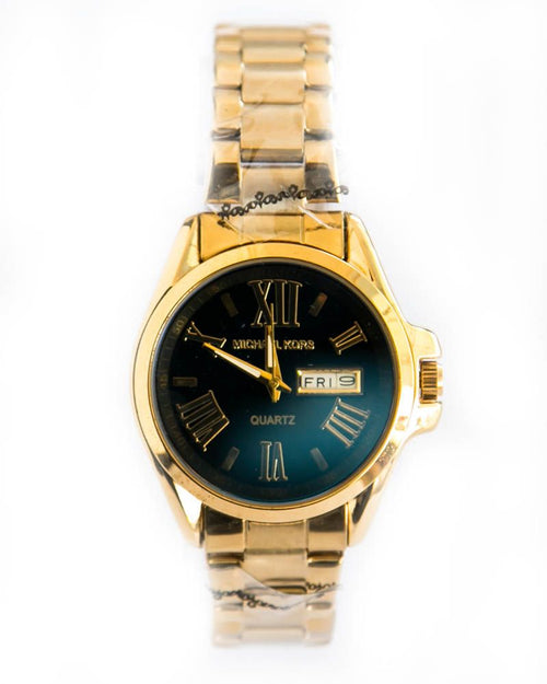 Michael Kors Ladies Watch In Black Dial– Gold With Date & Day