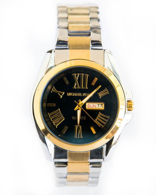 MK Gold & Silver Chain Watch For Man In Black Dial - Micheal Kors
