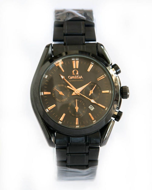 Omega Man In Black Watch With Black Dial & Steel Chain - Date & Day Mode