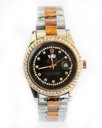 Rolex Diamond Silver Watch For Man's Black Dial - Diamond Stones Edition
