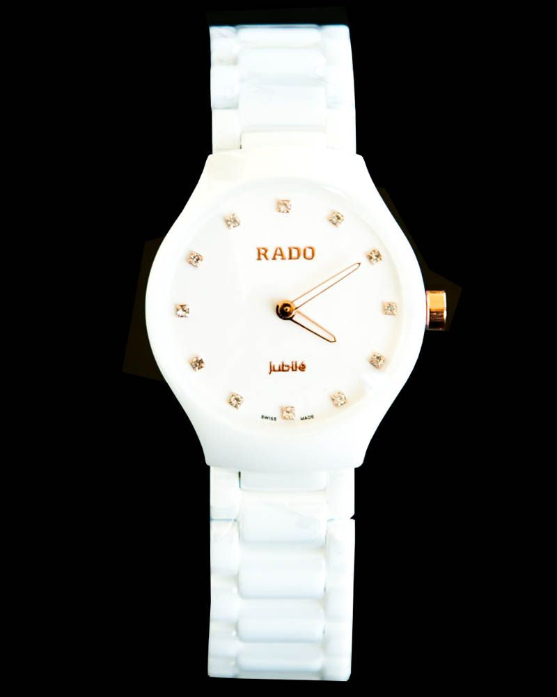 Rado Ladies Watch In Pure White Dial & Chain With Golden Stones