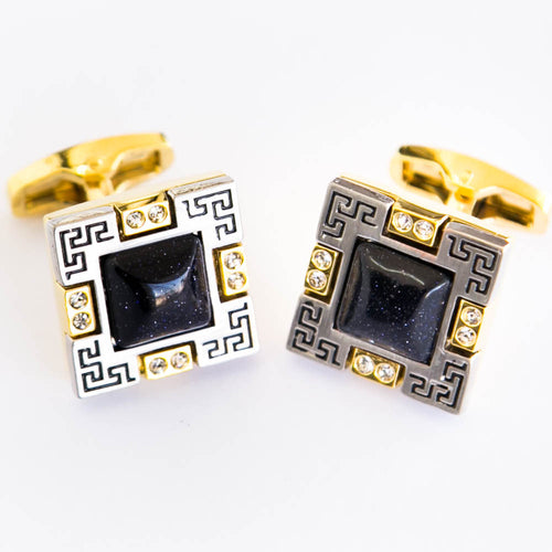 Golden With Black Stone Cufflinks For Man