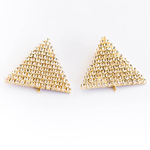 Man's Collars Pin In Pyramids Shape Golden With Diamond Sotnes