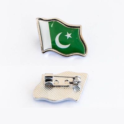 Pakistani Flag Collar Clip In Silver