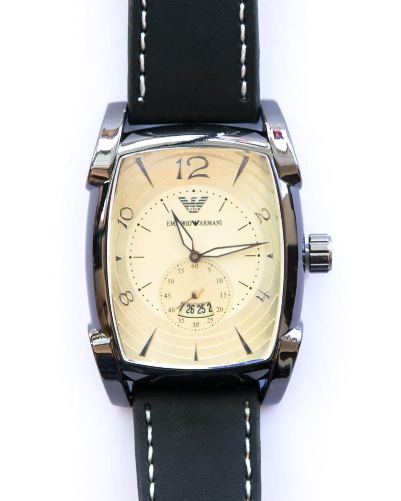 Armani Silver Watches For Men's With Golden Dial & Black Belt
