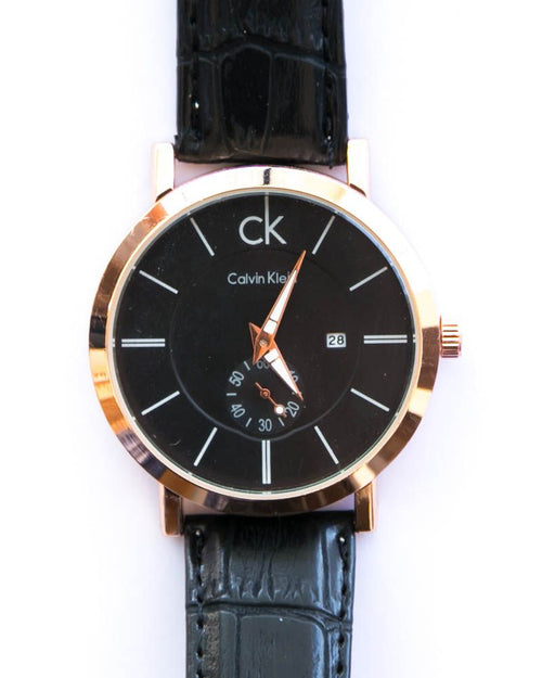 CK Gold Man's Watch With Date in Black Dial & Belt - Calvin Klein