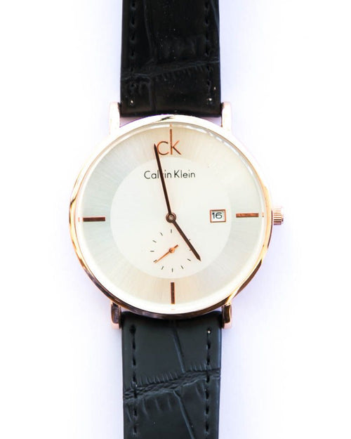 CK Gold Man's Watch With Date in White Dial & Black Belt - Calvin Klein
