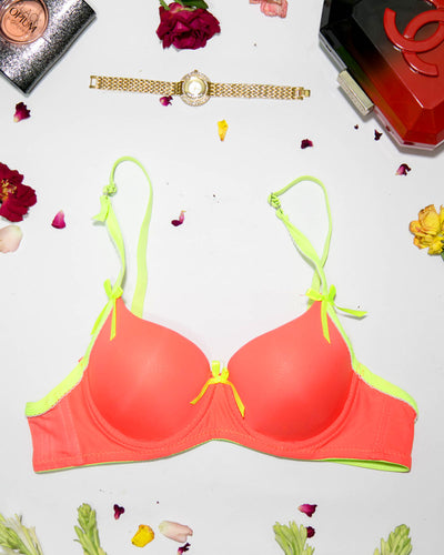 Women Push up Underwire Bra Smoothing Lace Everyday Bra - Orange
