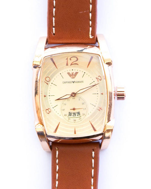 Armani Golden Watches For Men's With Gold Dial & Brown Belt