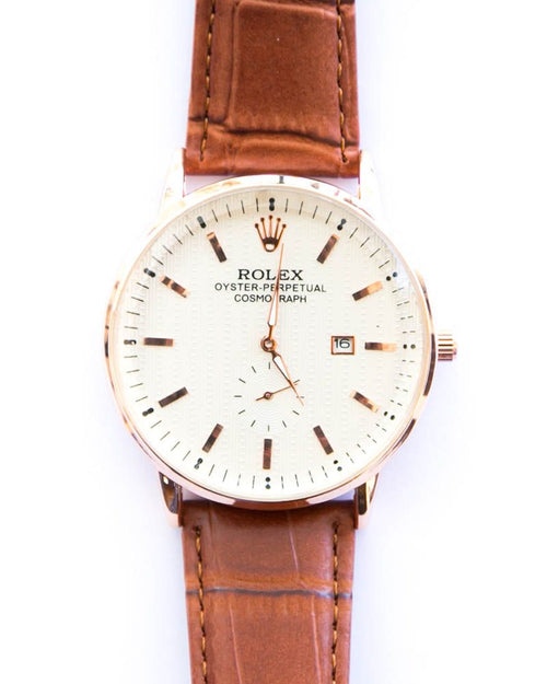 Rolex Golden Shade Mens Watches With White Dial & Brown Belt With Date Mode