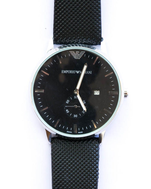 Armani Men Watch With Black Dial & Black Belt – Silver Shade Watches