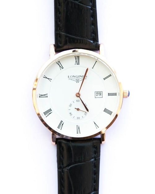 Longines Men's Watch In White Dial With Black Belt - Gold Shade Watch