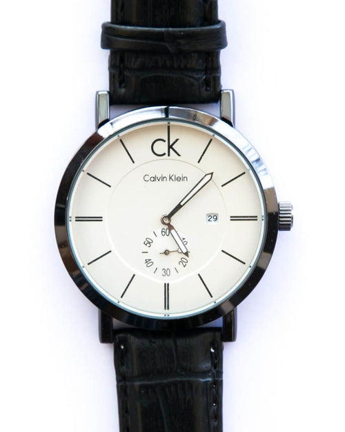 Ck Mens Watches With Date & Time in White Dial Black Belt - Calvin Klein