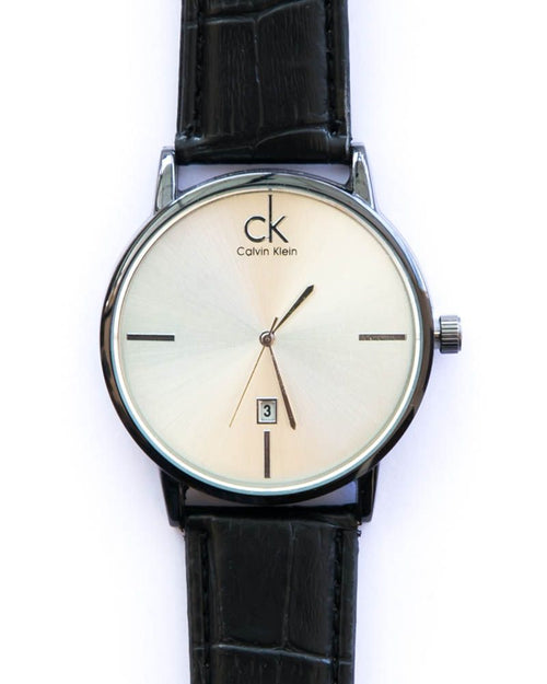 Calvin Klein Stylish Man's Watch With Date in White Dial & Black Belt