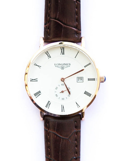 Longines Men's Watch In White Dial With Brown Belt - Gold Shade Watch
