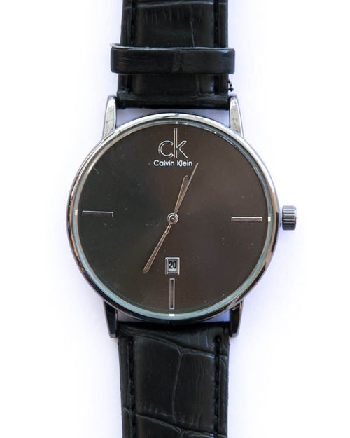 Ck Stylish Man's Watch With Date & Time in Black Dial & Belt - Calvin Klein