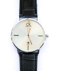 Calvin Klein Stylish Man's Watch With Date in White Shiny Dial & Black Belt
