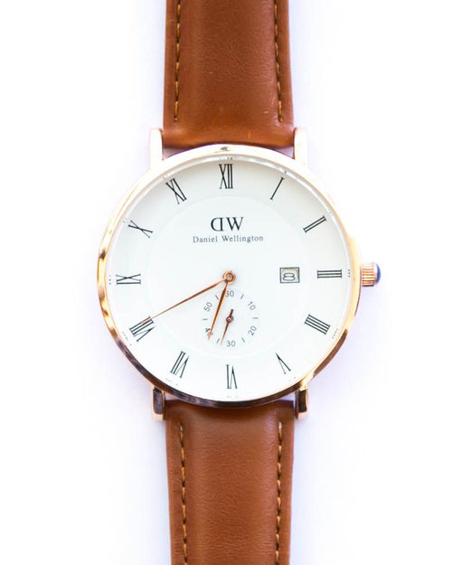 DW Gold Man's Watch With Date in White Dial & Light Brown Belt - Daniel Wellington
