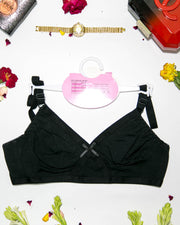 Cotton Plain Non Padded - Non Wired Basic Bra - Black