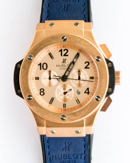 Hublot Man's Watch in Golden Dial & Blue Belt