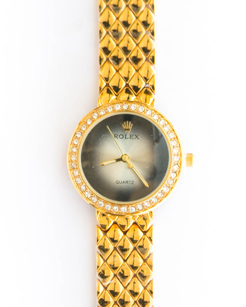 Rolex Ladies Watch – Gold Chain With Black Dial - Online Shopping ...