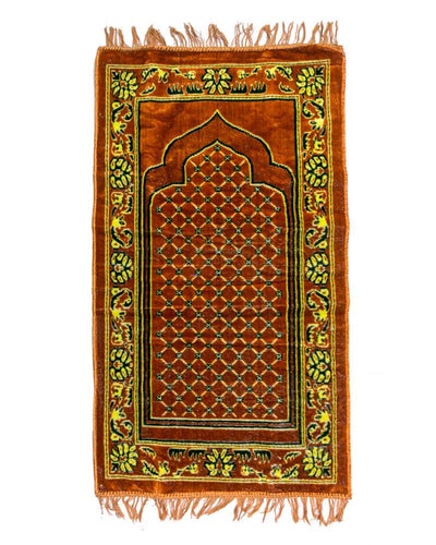 Janamaz - Brown Velvet Janamaz BR117 - Export Quality