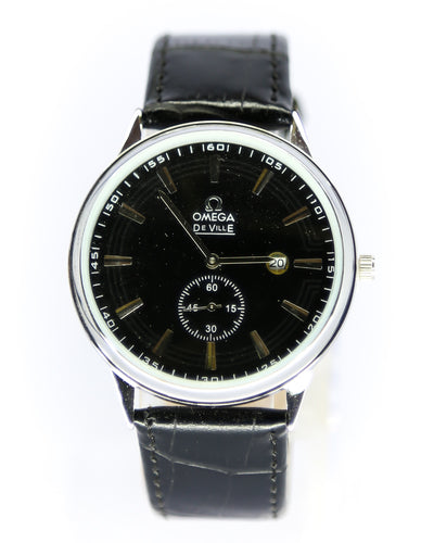 Omega Men Watch With Silver Dial & Black Belt