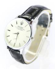 Rolex Men Watch With White Dial & Black Belt