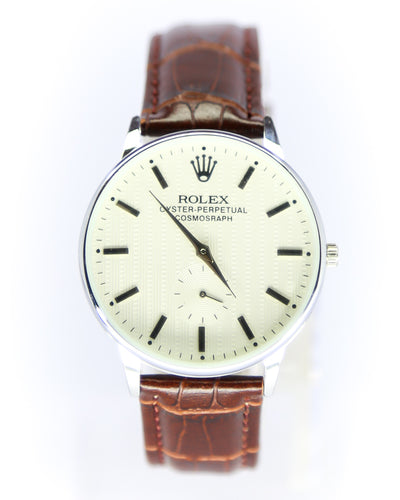 Rolex Men Watch With Silver Dial & Brown Belt