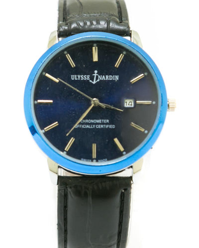 Men's Belt Watch Black Dial With Date - Ulysse Nardin
