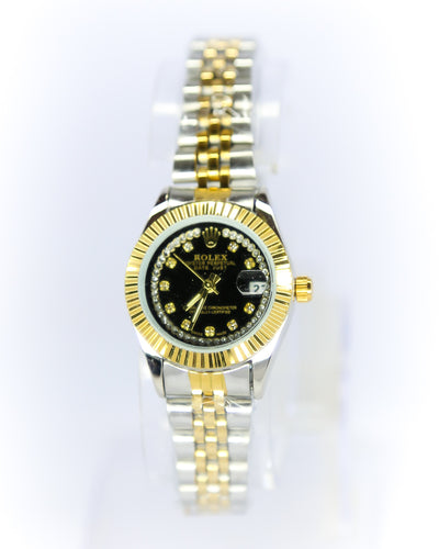 Rolex Ladies Watch – Two Tone Ladies Stainless Steel Diamond Oyster Golden & Silver Chain With Black Dial