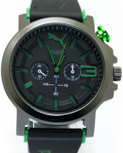 Sports Watch For Men's  Black Dial & Green Digits - By Puma