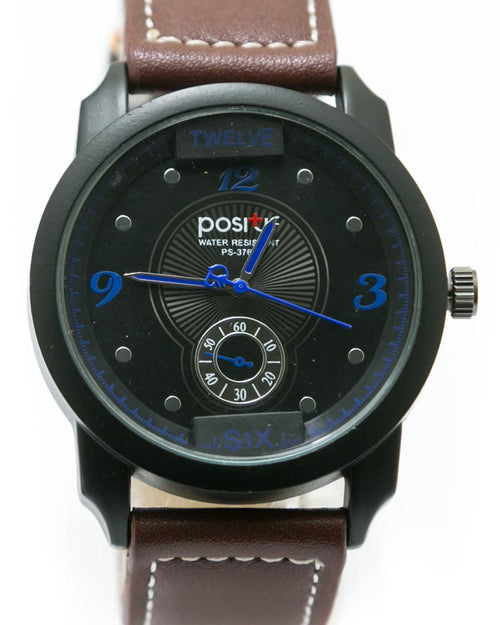 Men's Stylish Hand Watch By Positif - Dark Brown Belt & Black Dial