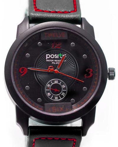 Men's Stylish Hand Watch By Positif - Black Belt & Black Dial