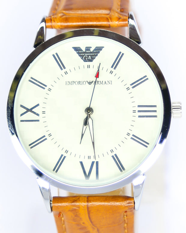 Emporio Armani Men Watch – Emporio Armani Watch Brown Belt With White Dial