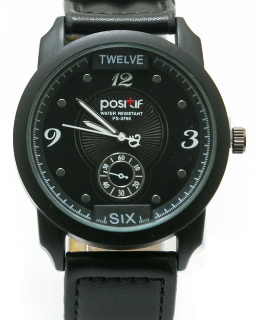 Men's Stylish Hand Watch By Positif - Black Belt & Dial