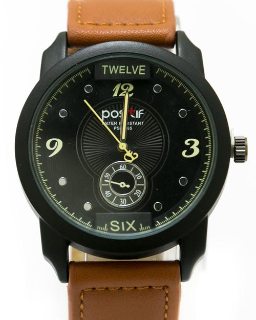 Men's Stylish Hand Watch By Positif - Brown Belt & Black Dial