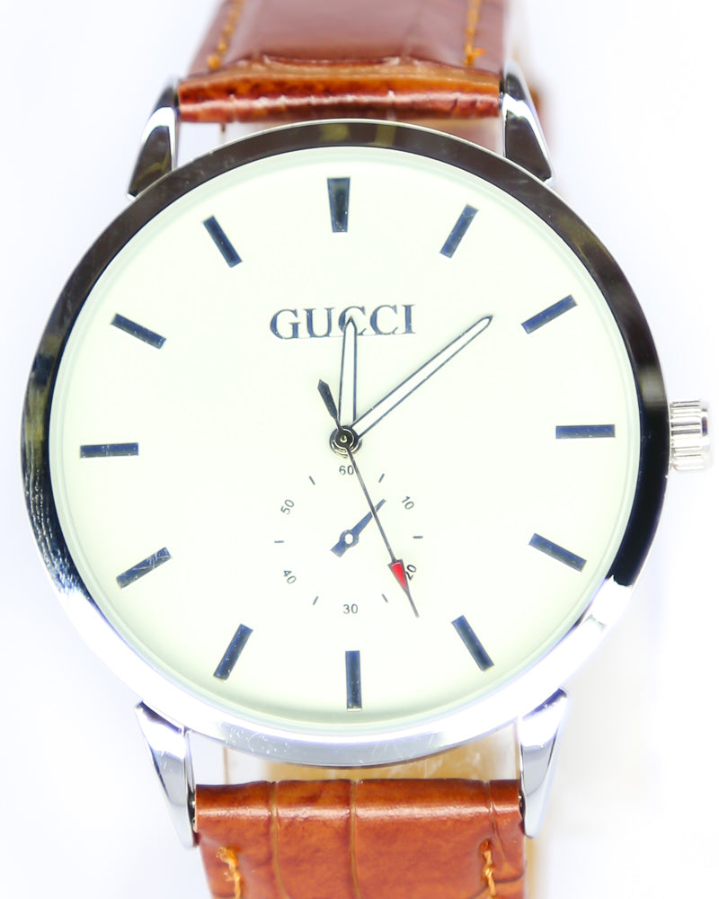 Gucci Men Watch – Gucci Watch Brown Belt With White Dial