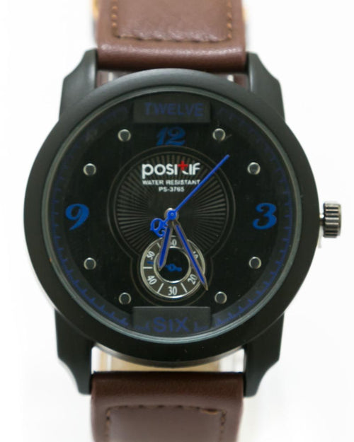 Stylish Hand Watch For Men By Positif - Dark Brown Belt & Black Dial