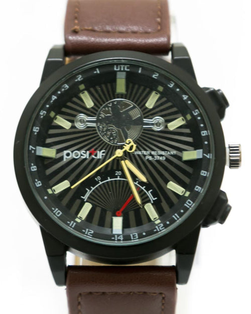 Stylish Watch For Men's Dark Brown Belt & Black Dial - By Positif