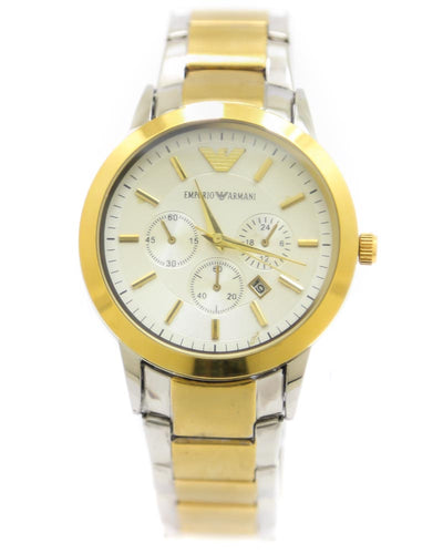 Armani Men Watch – Armani Watch Silver & Golden Chain With White Dial