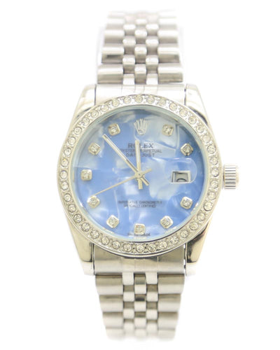 Rolex Men Watch – Rolex Watch Silver Chain With Sky Blue Dial
