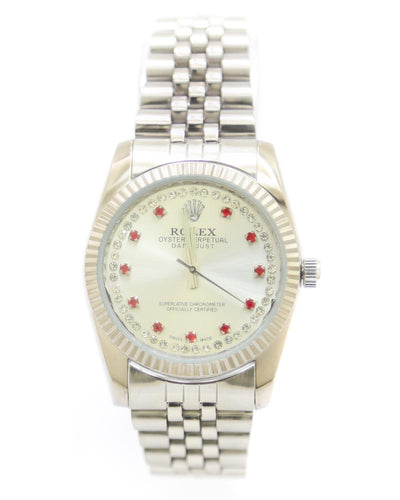 Rolex Men Watch – Men Stainless Steel Diamond Oyster Silver Chain With Silver Dial