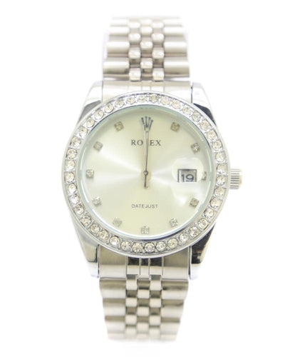 Rolex Men Watch – Men Watch Diamond Oyster Silver Chain With Silver Dial