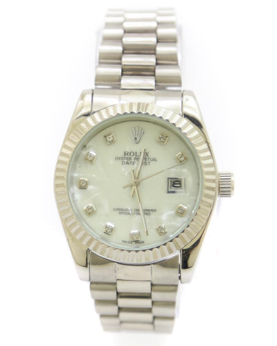 Rolex Men Watch – Rolex Men Diamond Oyster Silver Chain With White Dial