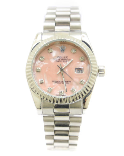 Rolex Men Watch – Rolex Men Diamond Oyster Silver Chain With Pink Dial