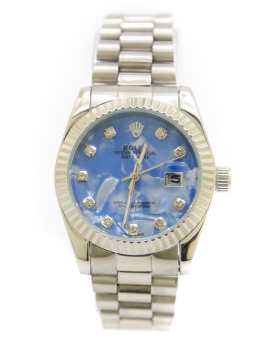 Rolex Men Watch – Rolex Men Diamond Oyster Silver Chain With Sky Blue Dial