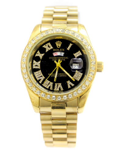 Rolex Men Watch – Rolex Men Diamond Oyster Golden Chain With Black Dial